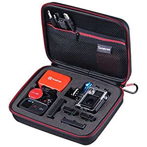 """Smatree® SmaCase G160 - Medium Case for Gopro Hero 4/3+/3/2/1 and Accessories (8.6"""" x6.7"""" x2.7"""") - Travel & Household Case with Excellent Cut Foam Interior - Perfect Protection for Gopro Camera-Black&Red"""