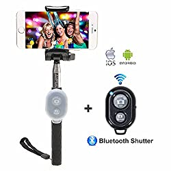 AirPlus K|Star Series Selfie Stick With Bluetooth Wireless Remote [BLACK]