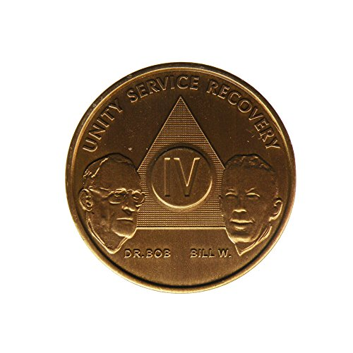 4 Year Bill & Bob Founders Edition Bronze AA (Alcoholics Anonymous) Birthday - Sober / Sobriety / Anniversary / Recovery / Medallion / Coin / Chip