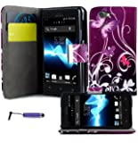 Magic Global Gadgets® Purple Butterfly Printed Pu Leather Book Wallet Magnetic Flip Case For Sony Ericsson Xperia Arc S X12 / LT15i / LT18i Premium Stylish Pouch Cover Holster + Built In Card Slots / Cash Compartment + Built In Media Stand With Screen Protector Guard & Mini Capacitive Stylus Pen
