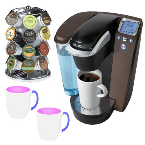 Keurig Platinum B70 Gourmet Single Cup Coffee & Tea Brewing System + Chrome K-Cup Carousel for Keurig Coffee Cups + 2 Stoneware Coffee Mugs