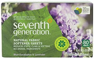 Seventh Generation Fabric Softener Sheets, Blue Eucalyptus and Lavender, 80-Count (Pack of 2) Packaging May Vary