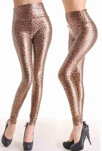 New Womens Shiny Wet Leopard, Animal Print High-Waist