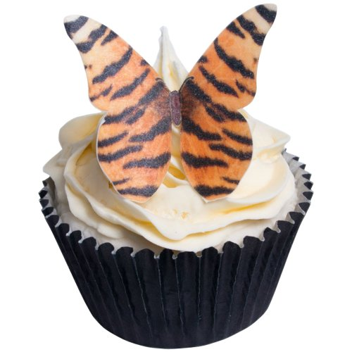 12 Tigerfell Design Essbare Oblaten Schmetterlinge / 12 Tiger Skin Design Edible Wafer Butterflies