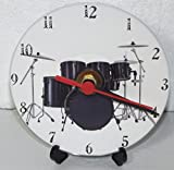 A BLACK DRUM KIT WITH A BLACK BASS DRUM DESIGN PRINTED ON A CDDVD 12 cm diameter SIZED NOVELTY CD QUARTZ WALLDESK CLOCK WITH FREE BATTERY AND DESK STAND CAN BE PERSONALISED FOC