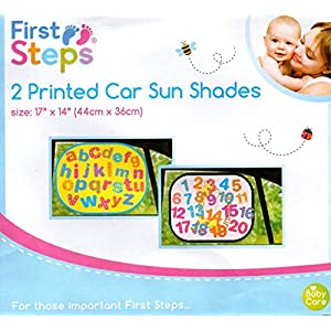 New 2Pk First Steps Car Window Sun Shades No's & Alphabet Easy Fold Baby & Child Safety Shade