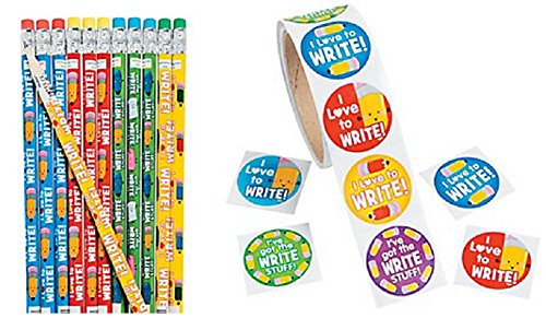 I Love To Write Pencils and Sticker Set (124 Pieces)