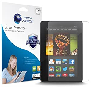 Tech Armor Kindle Fire HDX 7 (2013 Release) High Defintion (HD) Clear Screen Protectors -- Maximum Clarity and Touchscreen Accuracy [3-Pack] Lifetime Warranty from Tech Armor