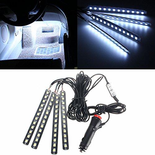 AUDEW 4 en 1 Lampe LED 48-5050SMD Décoration Intérieur de Voiture 3 Mode d'Éclairage Étanche IP65 Auto Atmosphère Pied Lights Ruban Bande Strip DC 12V Blanc