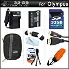 32GB Accessories Kit For Olympus TOUGH TG-1 iHS, TG-1iHS, TG-2 iHS, TG-2iHS, TG-3 Waterproof Digital Camera Includes Extended Replacement (1500Mah) LI-90B, LI-92B Battery + Charger + 32GB High Speed SD Memory Card + Micro HDMI Cable + FLOAT STRAP + Case +