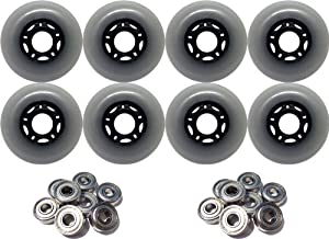 8-Pack of 83a Outdoor Inline Hockey Skate Wheels Black + 9s Bearings 72mm by TGM Skateboards