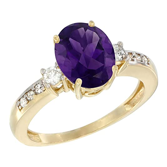 14ct Yellow Gold Natural Amethyst Ring Oval 9x7 mm Diamond Accent, sizes J - T