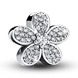 Bamoer 925 Sterling Silver Dazzling Daisy Plant Charm Fit Bracelet With CZ DIY Accessories Jewelry