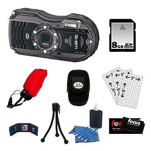Pentax WG-3 16MP Waterproof Digital Camera (Black) + 8GB SD Card + Foam Strap + Accessories