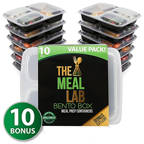 [LONGER LASTING] The Meal Lab 3-Compartment BPA FREE Stackable Meal Prep Food Storage Containers with Lids | Microwave & Dishwasher Safe Bento Lunch Box | Portion Control Plates + Weight Loss eBook (Restaurant Prep Containers compare prices)