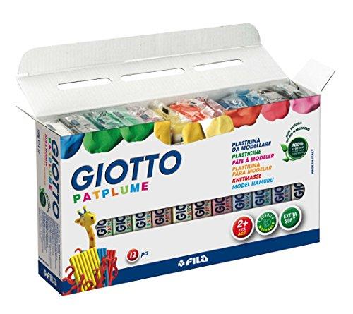 giotto-patplume-511900-estuche-12-pastillas-de-plastilina-base-vegetal-150-g-cada-una-sin-gluten-col