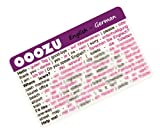 OOOZU German Language Card - phrasebook alternative Keep the essential words in your wallet, purse or pocket Light to carry, quick to use, made from biodegradable plastic Easy alternative to a German phrase book, German dictionary, mobile phone or