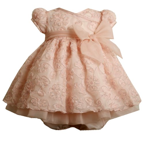 Size-3/6M BNJ-0357X 2-Piece PINK METALLIC-SILVER BONAZ CROSSOVER MESH OVERLAY Special Occasion Flower Girl Holiday Party Dress,X00357 Bonnie Jean Baby/NEWBORN