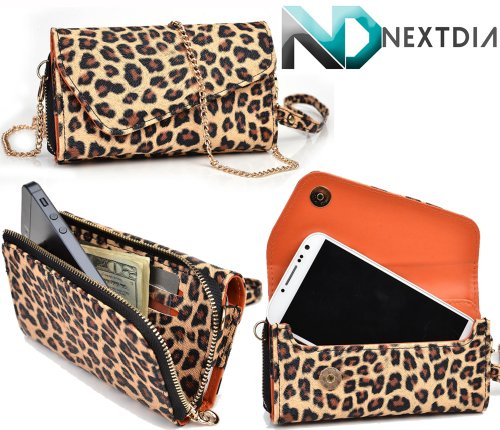 Gigabyte Gsmart Maya M1 Womens Wristlet Clutch Case Classic Leopard Pattern With Matte Trance Orange With Credit Card Holder And Crossbody Shoulder Strap & Nd Velcro Cable Organizer