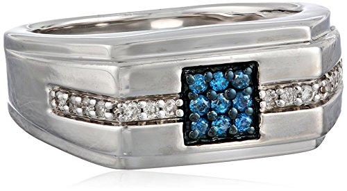 Men's Sterling Silver Blue and White Diamond Ring (1/4 cttw, I-J Color, I2-I3 Clarity), Size 9