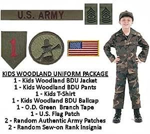 Kids Woodland BDU Military Uniform Army Costume (Large)