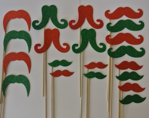 20 Pc Mustache on a Stick Photo Booth Props Red and Green Xmas Glitter Foamy Mustache Bash Wedding Photo Booth Party Favor and Props