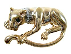 Gold Plated Lynx Cat Brooch - Gold Plated Jungle Cat Lapel Pin