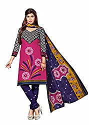 Aarti Apparels Women's Cotton Unstitched Dress Material _MAHARANI-16_Pink and Blue