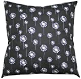 JinStyles Cotton Canvas Black with White Dandelion Accent Decorative Throw Pillow Cover (Black & White, Square, 1 Cover for 18 x 18 Inserts)