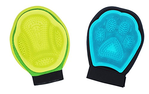 Hilinker Pet Cat Dog Brush Glove Mitt Grooming Deshedding Tool for Long Hair Short Hair Removal Left Hand Washing And Durable (1 green & 1 yellow) (Durable Humidifier compare prices)