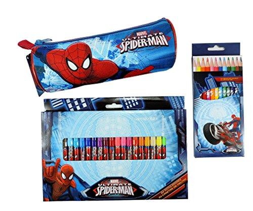 Set Scuola 37 Pezzi SPIDER MAN Completo Astuccio tombolino + 24 Pennarelli + 12 Matite colorate UOMO RAGNO