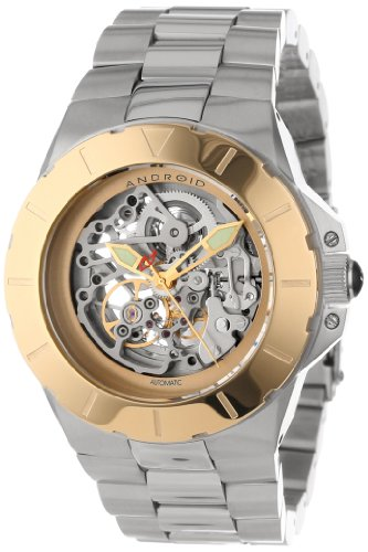 Android Unisex AD590BG Ion-Plated Gold Bezel Automatic Skeletonized Watch