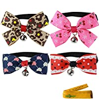 Cool Gentle Lovely Stylish Adjustable Cat Dog Rabbit Pet Cloth Bowknot Bow tie Collar with Bell for Small Cats Dogs Rabbits, Pack of 4