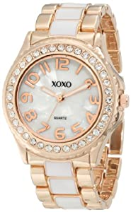 XOXO Women's XO5472 Rose Gold with White Epoxy Analog Bracelet Watch