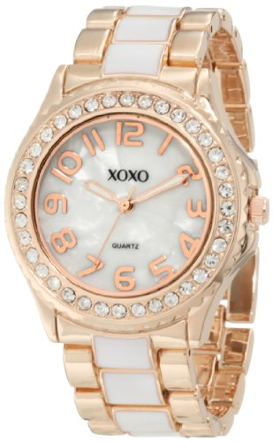 XOXO Womens XO5472 Rose Gold with White Epoxy Analog Bracelet Watch