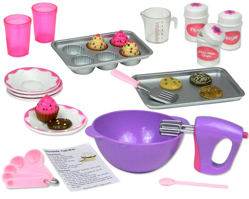 18 Inch Doll Baking Set of 26 Pcs. Fits American Girl Doll Furniture, Mini Doll Food Cookware Set