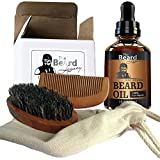 PREMIUM Beard Brush, Comb, Oil-Handmade Kit Made in USA Beard Care 100% Bamboo Natural Boar Bristle Anti-Static No Snag Unscented Leave-In Conditioner Helps Itchiness Dandruff Jojoba Argan Oil
