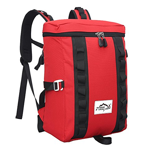 Zerd Square Casual Outdoor Hiking Camping Backpack Red front-570024