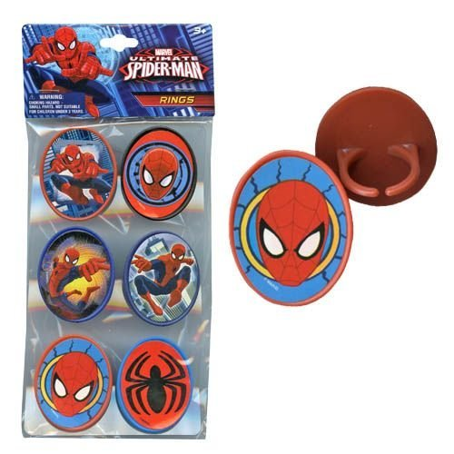 Spiderman 6pk Cupcake Topper Rings with Sticker on Plastic Insert - 1