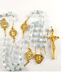 Light Blue Mother of Pearl Beads Rosary