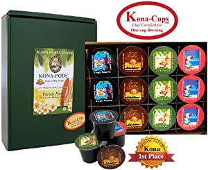 12 K-cups of Pure Kona and Kona Hawaiian Coffee, Variety Pack of Our Exclusive Kona-cups for K-cup Coffee Brewing
