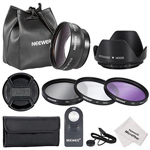 Neewer® 52MM Foto & Video Objektiv & Filter mit IR drahtlose Fernbedienung Kit für Nikon DSLR-Kameras, wie Nikon D7100 D7000 D5200 D5100 D5000 D3300 D3200 D3000 D90 D80 umfasst Kit enthaelt: (1) 52MM 0.45x Weitwinkel-Objektiv mit Makro + (1) 52mm Filter Kit (UV, CPL, FLD) + (1) Tulip Lichtblende + (1) Zentrum Klemm Objektivdeckel mit Kappen Halter Leine + (1) IR drahtlose Fernbedienung Ersatz für ML-L3 + (1) Objektivtrage Tasche + (1) Filter Tragetasche + (1) Mikrofaser Reinigungstuch