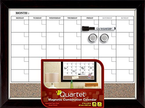 Quartet Magnetic Combination Calendar Board, Dry-Erase and Cork, 17 x 23 Inches, Two-Tone Frame (22476) (Marker Board Calendar compare prices)