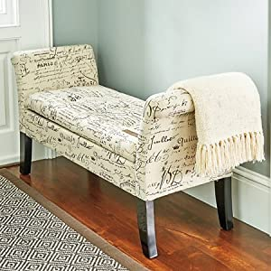 Elegant josephine french script shabby chic for Chaise bench storage