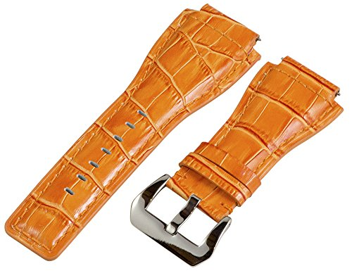 24Mm Orange Croco Leather Replacement Watch Band Strap - Made For Bell & Ross