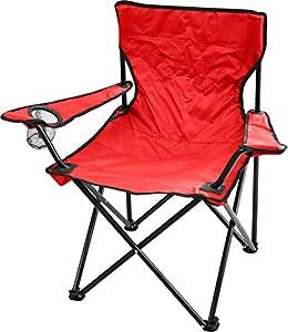 Outdoor Faltstuhl klappbar Campingstuhl Klappstuhl Anglersessel mit Getränkehalter in verschiedenen Farben Farbe Rot