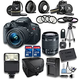 Canon T5i DSLR Camera +18-55mm IS STM Lens + Wideangle Lens + Telephoto Lens + 2 PC 32GB Memory Card + 4 PC Macro Bundle + Flash Light + Tripod + Remote Control + Case - International Version