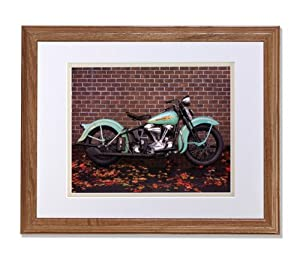 1938 Harley Davidson Springer Motorcycle Photo Wall Picture W/V Matted Oak Framed Art Print