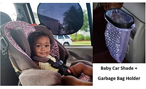Baby Sun Shades 2 Pack - No Suction Cups - Easy to Attach, Easy to Store + Garbage Bag Holder