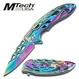 MT-A822RB RAINBOW r0mwa78vzq ylv81n208xj FINISH SPRING ASSISTED OPENING KNIFE WITH FLAMING HANDLE folding knife dagger sword steel edge